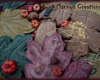 Primitive Folk Art Fall Autumn Leaf Ornies Pattern