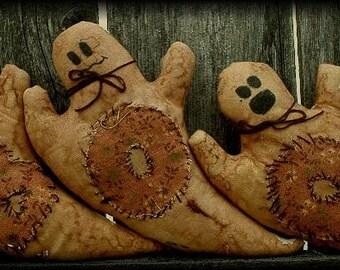Primitive Folk Art Halloween Ghost Ornies BOO Pattern