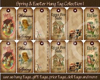 Primitive Vintage Easter Spring Image Printable Hang Tags for Scrapbooking Art