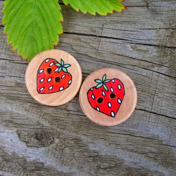 Strawberry Button Set - Childrens Accessories - Sewing - Hairband-Socks-Glove Decoration