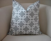 "Grey and white Chain link print pillow cover to fit a 18"" x 18"" pillow form"