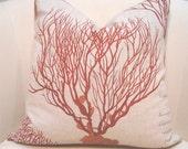 """18"""" x 18"""" Sea Fan Print pillow cover."""