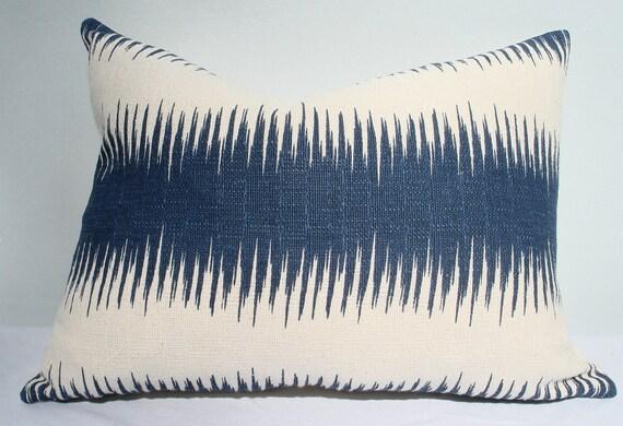 "12"" x 16"" Indigo and cream ikat stripe pillow cover"