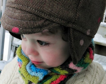 Kids The County Winter Hat Wool Herringbone Brown and Pink Warm Ear Flap Cap in Milk Chocolate & Strawberry Dot