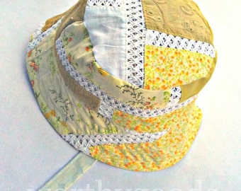 Buttercup Trick Sun Hat 12 to 24 Months Toddler Girls Yellow Patchwork Lace Girls Prairie Bucket Cap - Reversible