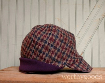 Warm Winter Baseball Hat Mens & Womens Womens Oatmeal Plum Houndstooth Ear Flap Cap - Sporty Winter Fashion
