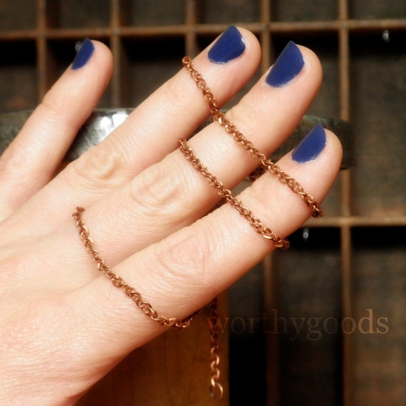Simple Antiqued Copper Chain Necklace - Adjustable Curb Chain with Lobster Clasp 18 to 20 Inches Long