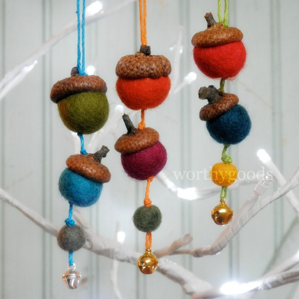 Christmas acorn ornaments set of 3 free shipping by for How to make acorn ornaments