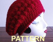Bobble Slouch Beret Crochet Pattern PDF, OK to sell finished items
