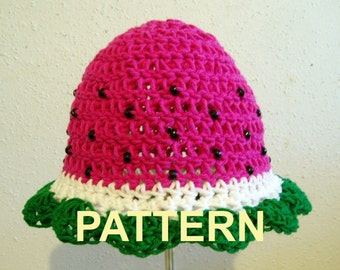 Juicy Watermelon Beaded Hat PDF Crochet Pattern, OK to sell finished items