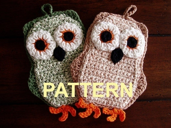 Funky Little Owl Potholder Crochet PDF Pattern