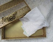 Gold toned Filagree tissue box---RESERVED FOR SOPHIE---