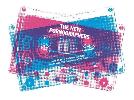 New Pornographers gig poster (live show screenprint Neko Case Montreal Canada cassette tape)