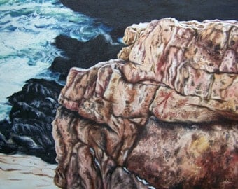 Rocky Coast Maine in Winter Oil Painting