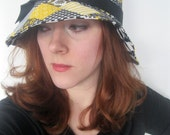 Retro Sun Hat in Vintage Yellow, Black, and White Patchwork