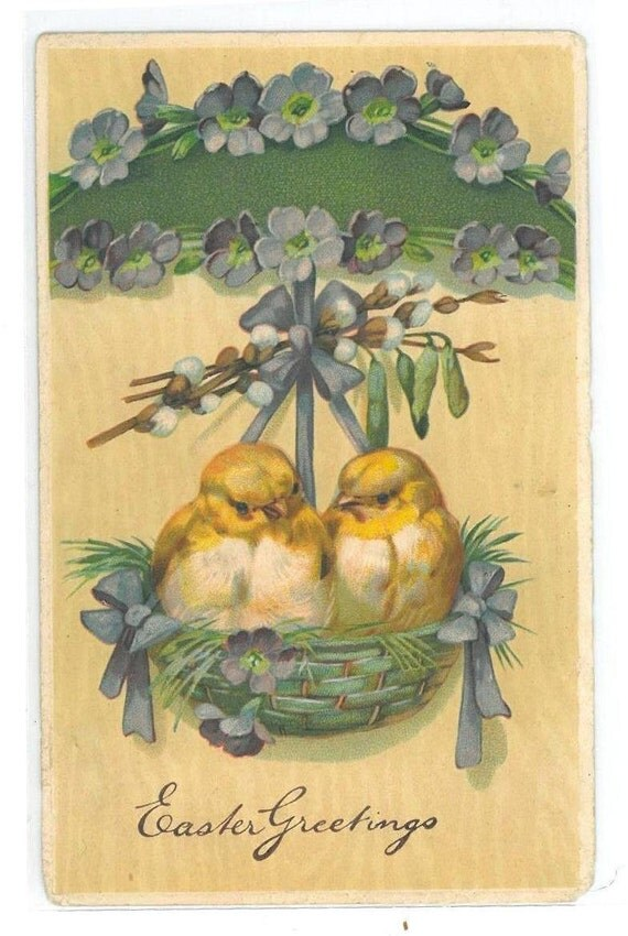 Vintage Easter Greeting Postcard with Two Chicks & Basket