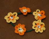 Sunny Flower Power Thread Crochet Bracelet or Anklet