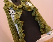Green Ruffle Sweater Jacket Wrap Adjusts One Size Fits Most From Sm to Lg ONE of a KIND