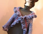 Leather Tie Crop Ruffle Sweater Shrug Bolero Purple Passion SZ Small