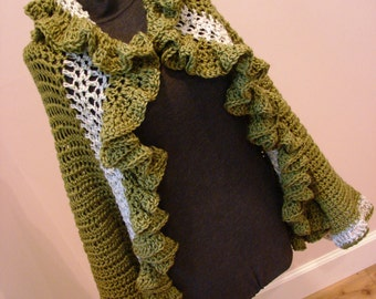 Fall Autumn Green Ruffle Sweater Jacket Wrap Adjusts One Size Fits Most From Sm to Lg ONE of a KIND