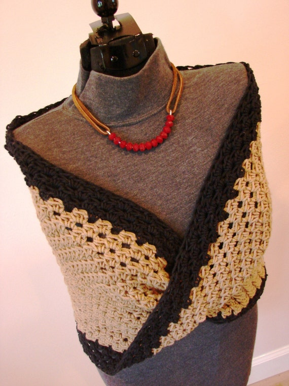 Cotton Moebius Wrap Shrug Coffee Brown With Black Accent - Size Xtra SMALL