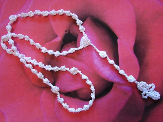 White Rosary - All Cotton Thread Lace Crochet -  5 Decades - Baptism - First Holy Communion