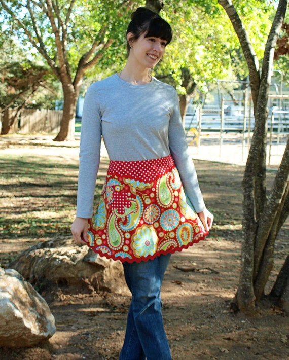 V-FRONT HALF APRON with Red and White Polka Dots and  Michael Miller's Paisley Gypsy Bandana