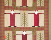 Quilt, titled: Santa in the Pines-37 x 48 inches- lap, throw, wallhanging