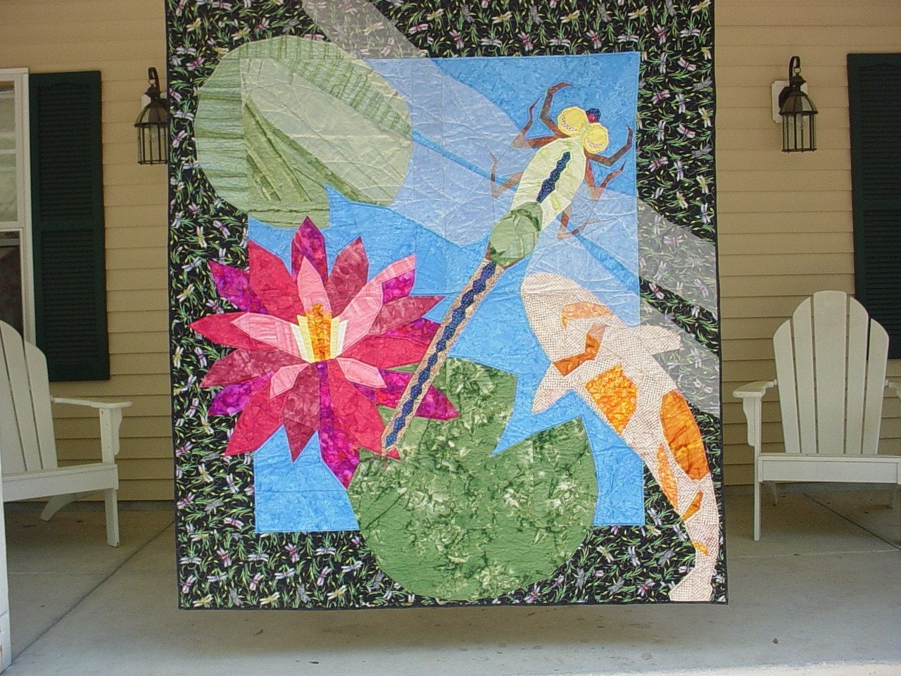 Handmade quilt dragon fly koi fish lilly pad for Koi pond quilt pattern