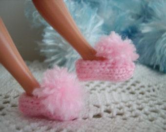 Pink Pom Pom Slippers for Barbie, Skipper and Blythe