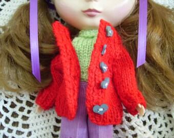 Little Red Cardigan for Blythe or Skipper