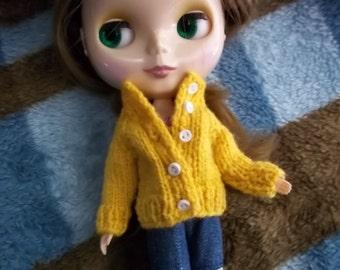Mustard Yellow Cardigan for Blythe or Skipper-size fashion dolls