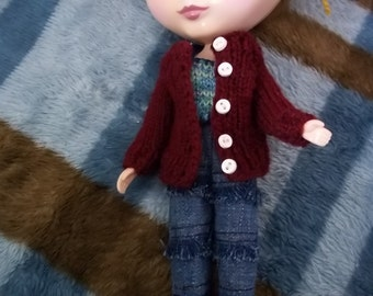 Plum Sweater Cardigan Sweater for Blythe and Skipper