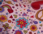 Blanket-Peace Signs, Flowers, Hearts, and Rainbows