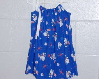 Hello Kitty Patriotic Pillowcase Dress available in sizes child 2,3,4