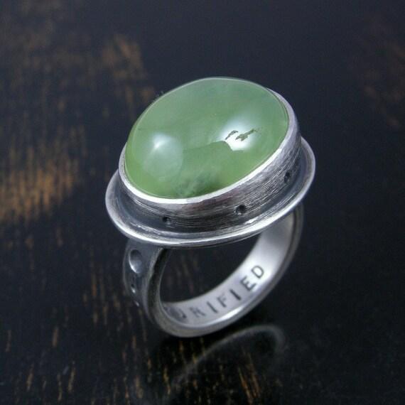 chunky green prehnite lantern ring sterling silver by