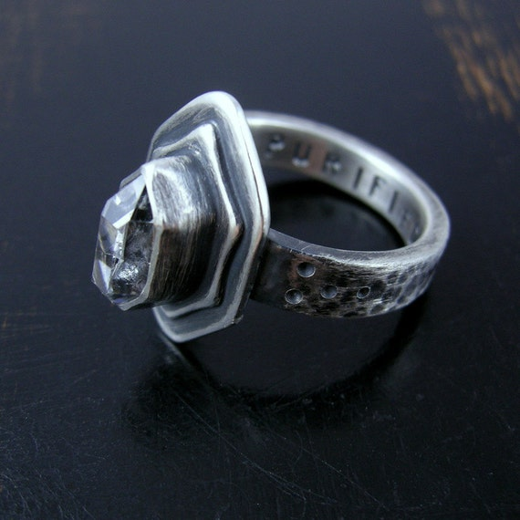 Reserved for Amanda Little Herkimer Diamond ring sterling silver grade A