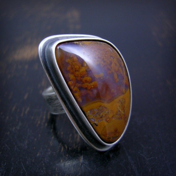 Rusty plume agate ring made to order setting, sterling silver