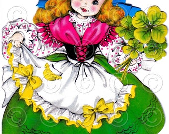 Luck of the Irish Pretty Girl Doll Card Vintage Digital Image Illustration St. Patricks Day