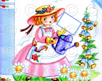 Mary Quite Contrary Pretty Girl Doll Card Vintage Digital Image Illustration