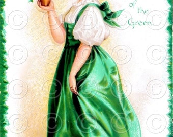 Luck of the Irish Pretty Lady Postcard Vintage Digital Image Illustration St. Patricks Day (Style 2)