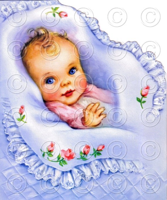NEW BABY -- (Style 2) Baby and Childrens Greetings Vintage Nursery Digital Image Illustration