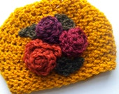 RESERVED Jorja - 6-12 month hat with flowers for Krislanephotography