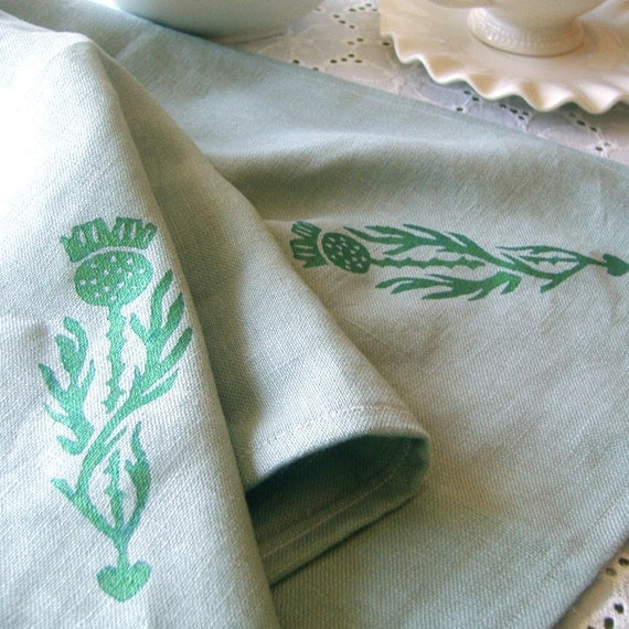 Thorne - tea towel with scottish thistle silk-screen design