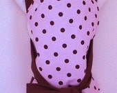 CLEARANCE SALE- Brown with pink polka dot Mei Tai