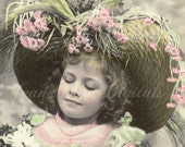 Daisies For Mom - Girl in Big Hat - French Postcard - Carte Postale - Photo Scan Instant Digital Download FrA038