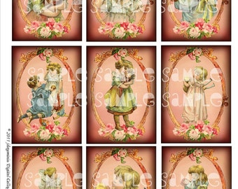 Dolly Love, 2.5 x 3.5 inch tags, gift cards, Victorian Instant Digital Download DC004