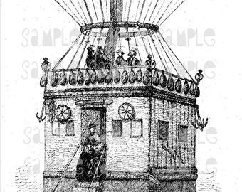 Vintage Steampunk Balloon Basket House Instant Digital Download, DS003