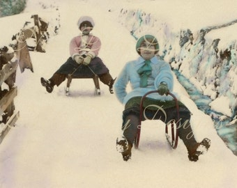 Christmas, Lillian & Marion Sleigh Riding, Swiss 1912,  Photo Scan, Instant Digital Download DP006