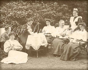 Victorian Garden Tea Party - Photo Postcard Scan - Instant Digital Download DP043